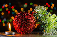 Christmas decorations in dark Royalty Free Stock Images