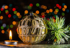 Christmas decorations in dark Stock Photography