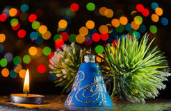 Christmas decorations in dark Royalty Free Stock Photography