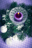 Christmas decorations. Christmas decor with white balls, pine and candle stock photo
