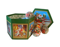 Christmas decorations in decorated Box Royalty Free Stock Photography