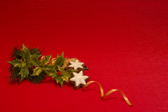 Christmas decorations. Christmas decoration on a red background Stock Photo