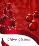 Christmas decorations. Christmas decoration with ribbon in red Royalty Free Stock Photography