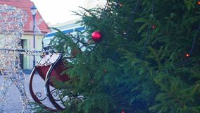 Christmas decorations, deer shape in Ventspils, winter season. Christmas and New Year Decoration. Blinking deer in the center of Ventspils stock video footage