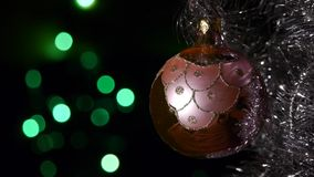 Christmas decorations - Defocused Christmas lights on background stock footage