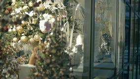Christmas decorations on display stock footage