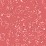 Christmas decorations doodle, seamless pattern on a pink background . Perfect for wallpaper, wrapping paper. vector illustration