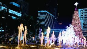 Christmas decorations in downtown Bangkok stock video footage