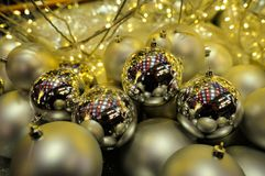 Christmas decorations. Downtown montreal city royalty free stock image