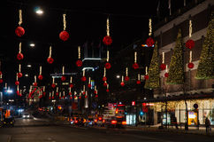Christmas decorations downtown Stockholm Royalty Free Stock Image