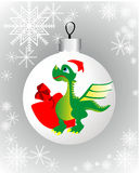 Christmas decorations and the Dragon. Toy with the dragon for a Christmas tree on a gray background with snowflakes Stock Illustration