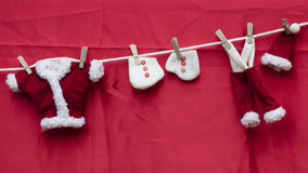 Christmas decorations with dress of santa claus Stock Images