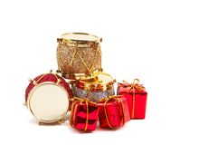Christmas decorations, drums, presents Stock Photography