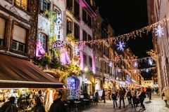Christmas Decorations During The Winter Market In Strasbourg Stock Photo