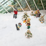 Christmas decorations with dwarfs skiing. Stock Image