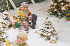 Christmas decorations with dwarfs skiing. Royalty Free Stock Image