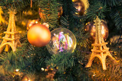 Christmas decorations with Eiffel Tower Royalty Free Stock Images