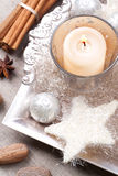 Christmas decorations. Elegant christmas decorations with spices, still life Royalty Free Stock Photos