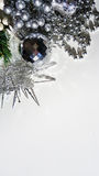Christmas decorations with fake icicles and silver ball Stock Images