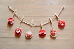 Christmas decorations in felt Stock Photos
