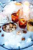 Christmas decorations with festive mood Stock Image