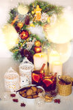 Christmas decorations with festive mood Royalty Free Stock Image