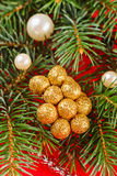 Christmas decorations and fir branch Stock Photos