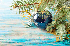 Christmas decorations and fir branch Stock Images