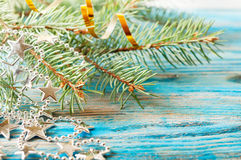 Christmas decorations and fir branch Stock Image