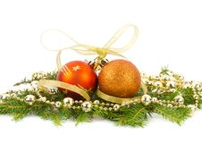 Christmas decorations on fir branches Royalty Free Stock Photography