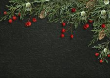 Christmas decorative border with fir branches and red berries on. Christmas decorations with fir branches, berries and on a dark background with space for photo Royalty Free Stock Images
