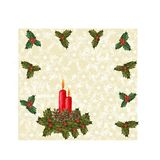 Christmas decorations from fir branches, green holly, red berries and bows, snowflakes and candles. Handmade beautiful stock illustration