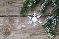Christmas decorations and fir branches Royalty Free Stock Images