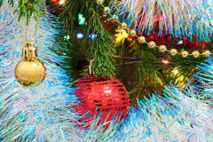 Christmas decorations on fir Stock Image