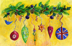 Christmas Decorations, fir, holly and Pine Cones. An Illustration of Colourful  Christmas Decorations hanging for a branch of Fir, Holly, Foliage and Pine cones Stock Images