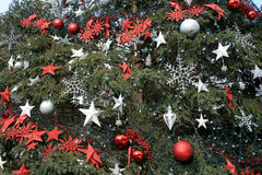Christmas Decorations on Fir Tree Stock Photos