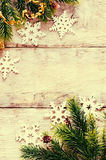 Christmas decorations with fir tree branch and snowflakes Stock Photo
