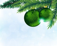 Christmas decorations and fir tree branches Stock Images