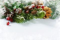 Christmas decorations with snowy border. Christmas decorations, fir tree branches and berries with snowy border Royalty Free Stock Photo