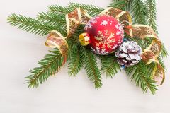 Christmas decorations with fir tree branches Stock Image