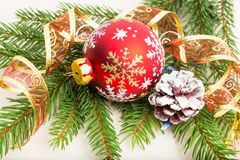 Christmas decorations with fir tree branches Royalty Free Stock Images