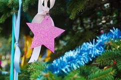 Christmas decorations on the fir tree Stock Photo