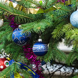 Christmas decorations on the fir tree Royalty Free Stock Image