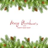 Christmas decorations with fir tree branches and snow. Red text Merry Christmas and Happy New Year with set of spruce branches, pine cones and snow. Christmas vector illustration