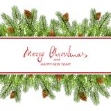 Christmas decorations with fir tree branches and white banner. Text Merry Christmas and Happy New Year on banner and set of spruce branches with pine cones and Royalty Free Stock Photography