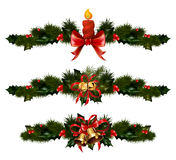 Christmas decorations with fir tree and decorative elements Stock Image