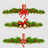 Christmas decorations with fir tree, golden jingle bells. vector illustration. Christmas decorations with fir tree, golden jingle bells and Christmas decorative Royalty Free Stock Photos