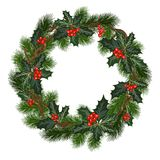 Christmas decorations with holly and red berries. Christmas decorations with fir tree, holly, berries and decorative elements. Design element for Christmas vector illustration