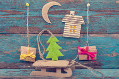 Christmas decorations with fir tree, sleigh and gifts Stock Photo