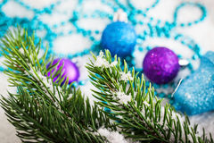 Christmas decorations and fir tree Stock Photography